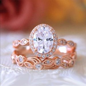 Jewelry - 14k rose gold oval engagement ring band set